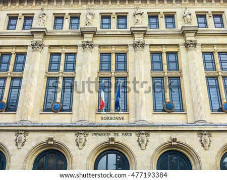 Paris, France, September 13, 2015: Facade of university Sorbonne.