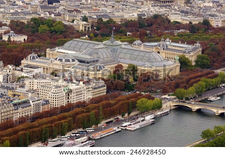PARIS, FRANCE - SEPTEMBER 20, 2011: Grand Palais is a large historic site, exhibition hall and museum complex located at the Champs-Elysees in the 8th arrondissement of Paris, France  - stock photo