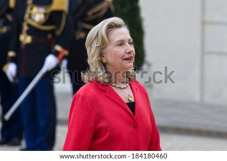 PARIS, FRANCE - SEPTEMBER 1, 2011 :Hillary Clinton at the summit about Libya at Palais de l'Elysee