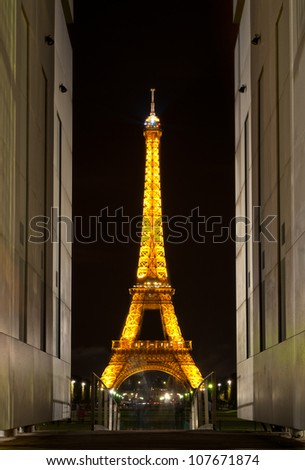 PARIS, FRANCE - SEPTEMBER 3: Illuminated Eiffel Tower at night. The most-visited paid monument in the world. 7.1 million people ascended it in 2011. September 3, 2011, Paris, France, Europe. - stock photo