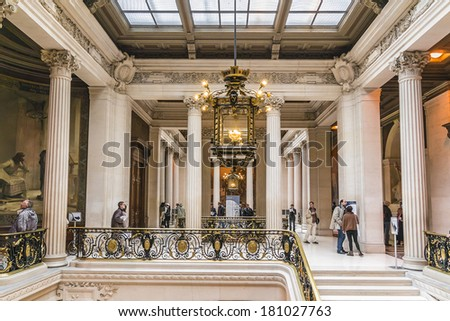 PARIS, FRANCE - SEPTEMBER 14, 2013: Interior of Sorbonne University. Name is derived from College de Sorbonne, founded by Robert de Sorbon (1257) - one of first colleges of medieval University.