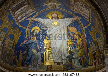 PARIS, FRANCE - SEPTEMBER 10, 2014: Interior view of Basilica of the Sacre Coeur on Montmartre, Paris, France - stock photo