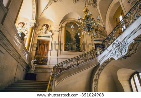 PARIS, FRANCE - 02 SEPTEMBER, 2015: Louvre indoor. Paris, France.The museum is one of the world's largest museums and a historic monument. A central landmark of Paris. - stock photo