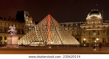 PARIS, FRANCE - 8 SEPTEMBER, 2014: Louvre Museum in Paris, France on 8 September 2014. Louvre Museum is one of the world's largest museums and a historic monument