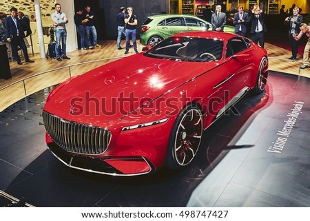 Paris, France - September 29, 2016: 2016 Mercedes-Maybach 6 Concept presented on the Paris Motor Show in the Porte de Versailles