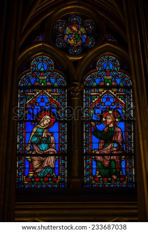 Paris, France - September 8, 2014: Paris - Interiors of  Sainte-Chapelle (Holy Chapel). The Sainte-Chapelle is a royal medieval Gothic chapel in Paris and one of the most famous monuments of the city