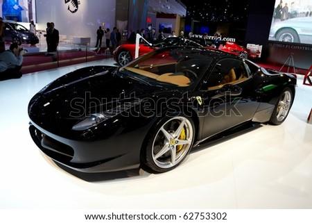 PARIS, FRANCE - SEPTEMBER 30: Paris Motor Show on September 30, 2010 in Paris, showing Ferrari 458 Italia, front view - stock photo