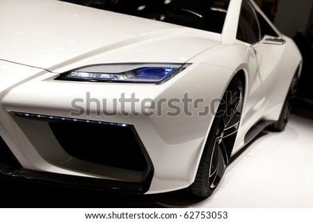 PARIS, FRANCE - SEPTEMBER 30: Paris Motor Show on September 30, 2010 in Paris, showing Lotus Esprit, front detail view - stock photo