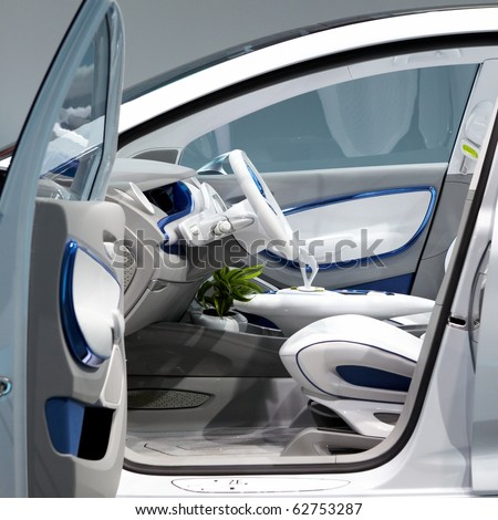 PARIS, FRANCE - SEPTEMBER 30: Paris Motor Show on September 30, 2010 in Paris, showing Renault Zoe Preview, interior view - stock photo