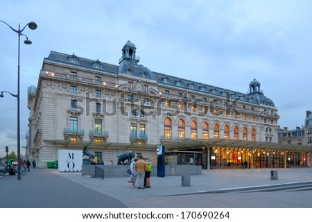 PARIS, FRANCE - SEPTEMBER 12, 2013: People at the booking offices of Musee d'Orsay. Opened in 1986, the museum houses the world largest collection of impressionist and post-impressionist masterpieces - stock photo
