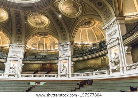 PARIS, FRANCE - SEPTEMBER 14, 2013: Sculptures of famous scientists in amphitheater of Sorbonne University in Paris. Name is derived from College de Sorbonne, founded by Robert de Sorbon (1257).