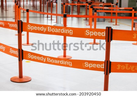 Paris, France, September 28, 2014 - Speedy Boarding way in the airport - stock photo