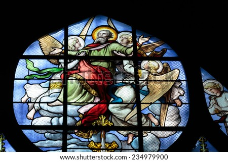 Paris, France - September 8, 2014: Stained glass window in the Church of Saint-Severin is a Roman Catholic church in the Latin Quarter of Paris, France