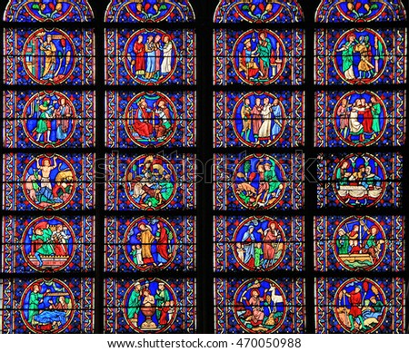 PARIS, FRANCE - SEPTEMBER 26, 2015: Staned glass window at Notre Dame de Paris Cathedral in Paris, France .