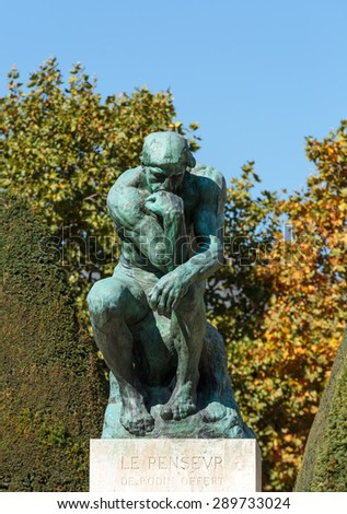 PARIS, FRANCE - SEPTEMBER 12, 2014: Statue in Rodin Museum in Paris,  is a museum that was opened in 1919, dedicated to the works of the French sculptor Auguste Rodin.  - stock photo