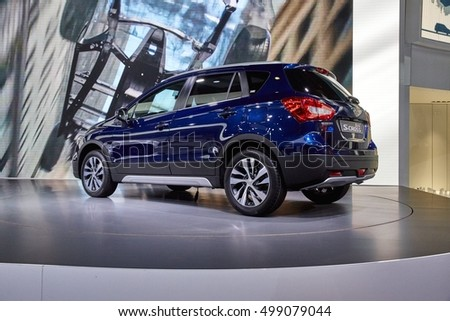 Paris, France - September 29, 2016: 2016 Suzuki SX4 S-Cross presented on the Paris Motor Show in the Porte de Versailles