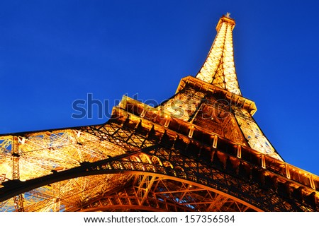 PARIS, FRANCE - SEPTEMBER 21: The Eiffel Tower in Paris, France on September 21, 2013, the most-visited paid monument in the world