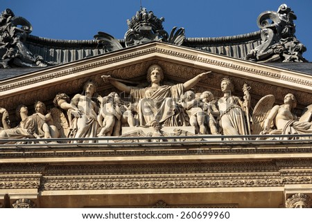 PARIS, FRANCE - SEPTEMBER 9, 2014: The Louvre Museum. Louvre is one of the biggest Museum in the world, receiving more than 8 million visitors each year. Paris, France - stock photo