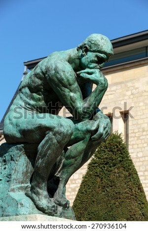 PARIS, FRANCE - SEPTEMBER 12, 2014: The Thinker in Rodin Museum in Paris, France - stock photo