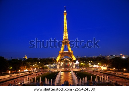 Paris, France - September 05, 2011 : View of Eiffel Tower during the light show and the fountains from Trocadero Square at dawn