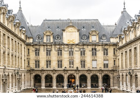 PARIS, FRANCE - SEPTEMBER 14, 2013: View of Sorbonne University in Paris. Name is derived from College de Sorbonne, founded by Robert de Sorbon (1257) - one of first colleges of medieval University.