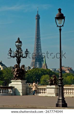 PARIS, FRANCE - 9 SEPTEMBER 2014: View on the famous Tour Eiffel in Paris, France on 9 September 2014.  - stock photo