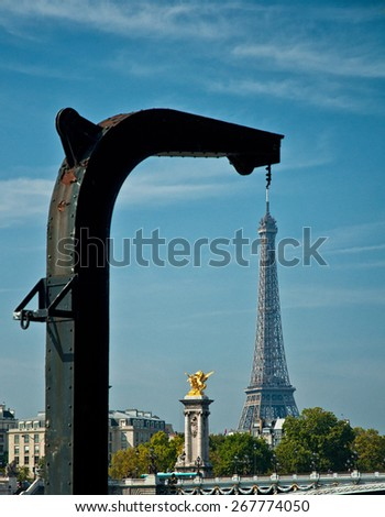 PARIS, FRANCE - 9 SEPTEMBER 2014: View on the famous Tour Eiffel in Paris, France on 9 September 2014.  - stock photo