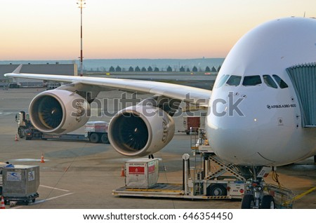 PARIS, FRANCE - 14th DECEMBER, 2016: Emirates Airbus A380 preparing for take-off at Charles de Gaulle International airport. December 14th, 2016. Paris, France.