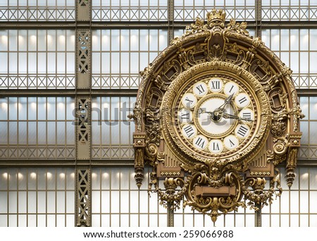 Paris,France 26th June 2014. Old station clock in Orsay museum. Orsay museum is housed in old railway station in Paris. It houses the largest collection of French impressionists from 1848 to 1915.  - stock photo