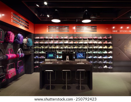 Paris. FRENCH-February. 6 2015;Nike store in Pairs.Nike is one of famous sports fashion brands worldwide and it is one of the world's largest suppliers of athletic shoes and apparel.