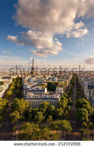 Paris from above: the famous Eiffel Tower and tree-lined Paris avenues and their haussmanian buildings (avenue d'Iena and avenue Kleber)