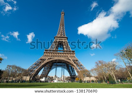 Paris. Gorgeous wide angle view of Eiffel Tower in winter season. La Tour Eiffel - France
