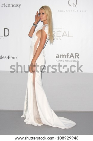 Paris Hilton arriving for AmfAR's Cinema Against Aids gala 2012 during the 65th annual Cannes Film Festival Cannes, France. 24/05/2012 Picture by: Henry Harris / Featureflash - stock photo