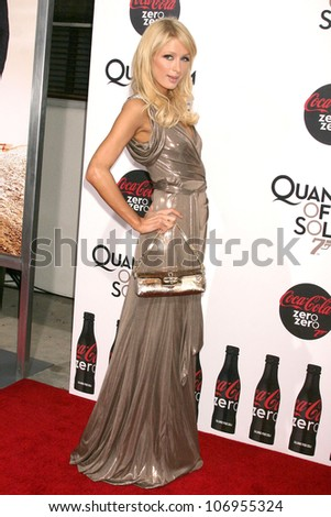Paris Hilton  at a Special Screening of 'Quantum of Solace'. Sony Pictures, Culver City, CA. 11-13-08 - stock photo