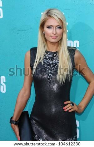 Paris Hilton at the 2012 MTV Movie Awards Arrivals, Gibson Amphitheater, Universal City, CA 06-03-12 - stock photo