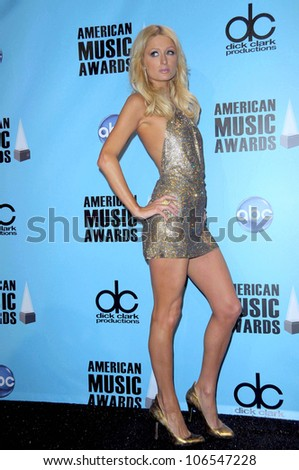 Paris Hilton  in the press room at the 2008 American Musica Awards. Nokia Theatre, Los Angeles, CA. 11-23-08 - stock photo