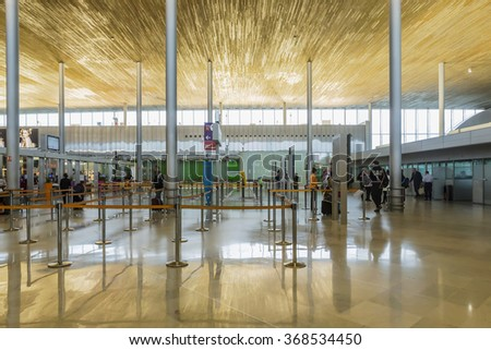 PARIS - January 20 2016: Arrivals at Charle de gaulle airport on September the 5th, 2015 in Paris, France. Charle de gaulle is one of the busiest airports in the world - stock photo