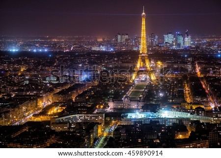 Paris, 2 January 2015, France. A romantic view of the city from a skyscraper , the Eiffel tower, the most important symbol of Paris, shines in the night