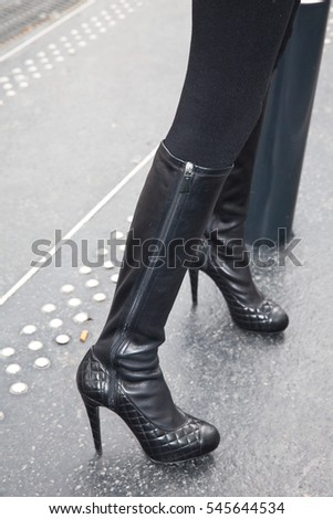 PARIS-JANUARY 27, 2015. Shoes details in Paris streets during Paris fashion week. Haute couture.