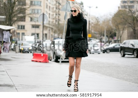 PARIS-JANUARY 27, 2016. Sofie Valkiers is on her way to a fashion show. Paris fashion week