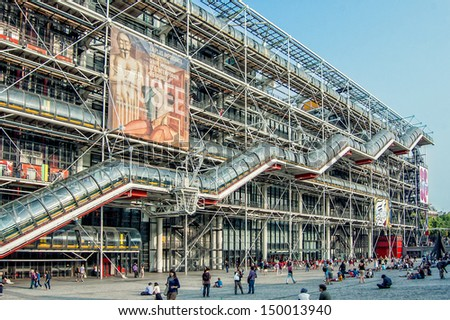 PARIS - JULY 13: Facade of the Centre of Georges Pompidou on July 13, 2013 in Paris, France. The Centre of Georges Pompidou is one of the most famous museums of the modern art in the world - stock photo