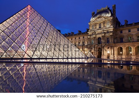 PARIS - JULY 7: Louvre museum and pyramid night view on July 7th, 2014 in Paris, France. Louvre museum hosts one of the biggest art collection in the world.