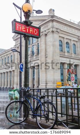 PARIS - JULY 15 - Paris Metro sign, July 15.2013 in Paris - stock photo