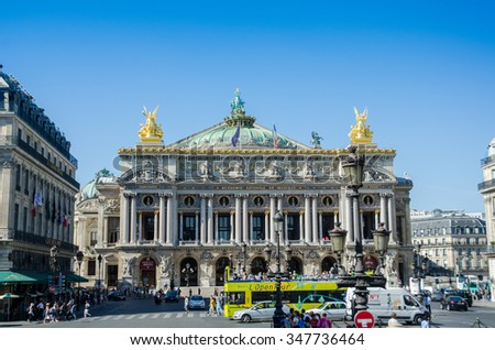 Paris - JULY 11, 2013: Paris Opera on July 11 in Paris, France. Paris opera is one of city attractions - stock photo