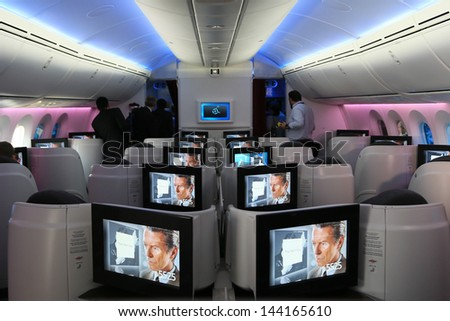 PARIS - JUN 17: Business Class of Qatar Airways Boeing 787 Dreamliner shown at 50th Paris Air Show on June 17, 2013, Paris, France. - stock photo