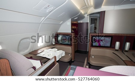 PARIS - JUN 18, 2015: Premium Class cabin in the Qatar Airways Airbus A350. Qatar Airways is the first user of the A350 with a first flight on 15 January 2015.
