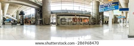 PARIS - JUNE  11, 2015: charles de  Gaules Airport interior in Paris, France. Paris Charles de Gaulle Airport, is one of the world's principal aviation centres - stock photo
