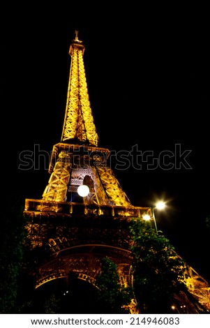 PARIS - June 1: Light Performance Show on June 1, 2014 in Paris, France. The Eiffel tower stands 324 metres (1,063 ft) tall. Monument was built in 1889, attendance is over 7 millions people.