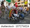 PARIS - JUNE 30:Parents of gays and lesbians support the their children at the Gay Pride on June 30, 2012 in Paris. - stock photo