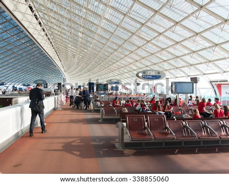 PARIS - JUNE 11, 2015: Terminal at the Roissy Charles de Gaulle International Airport (CDG). In 2013, the airport handled 62,052,917 passengers and 497,763 aircraft movements - stock photo